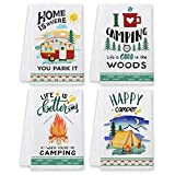Bonsai Tree Camping Dish Towels and Dish Cloths, Funny Happy Camper Kitchen Hand Towels Sets of 4, Farmhouse RV Owners Lovers Sayings Quotes Tea Towels Housewarming Gifts Decor for Women New Home