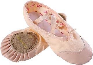 s.lemon Zapatillas de Ballet Niña Lona Suela Partida Principiantes Danza Zapatos Ballet Zapatos para Niños Adulto 24-47