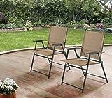 Mainstays Pleasant Grove Sling Folding Chair, Set of 2, Beige