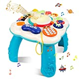 STOTOY Bébé Table d'apprentissage, Table d'activité Musicale pour Les Tout-Petits, 36 Mois + Table de Jeu Musicale pour Enfants, Jouet Sonore pour Bébé D'éducation Précoce, Cadeau pour Garçons&Filles