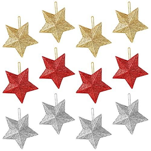 Decorazioni per l'albero di Natale, 12 pezzi Glitter Stella Addobbi per l'albero di Natale...