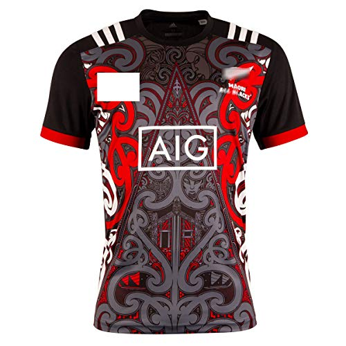2019 Maori Training Rugby Jersey Camisas de Entrenamiento maoríes de Manga Corta Ropa Deportiva de Verano para Hombres, Mujeres y niños Jersey Limitado para Regalo de cumpleaños