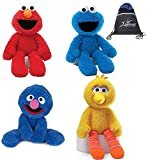 GUND Sesame Street Take Along Set of 4: Elmo, Cookie Monster, Big Bird and Grover with Myriads Drawstring Bag