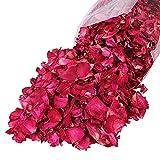 Yadass Pétalos de Rosa Secos Naturales Petalos de Rosa Rojos Artificiales 100g de Pétalos de Rosa Roja para Pies, Baño, SPA, Boda,casa