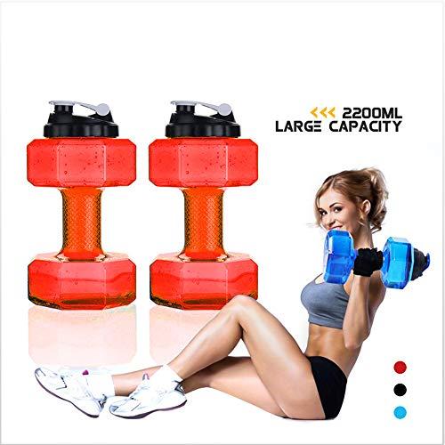 ORPERSIST Befüllbare Hanteln, 2200Ml Kurzhanteln Trinkglas, Wasser Flasche Hantel, Für Gym, Yoga, Laufen, Draußen, Radfahren Und Camping,Rot