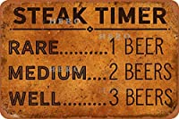 ステーキタイマーさびた錫のサインヴィンテージアルミニウムプラークアートポスター装飾面白い鉄の絵の個性安全標識警告アニメゲームフィルムバースクールカフェ40cm*30