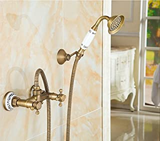 QIMEIM Grifo de lavabo Grifos de baño Grifería para lavabo Latón Antiguo Retro Bañera Ducha palanca única