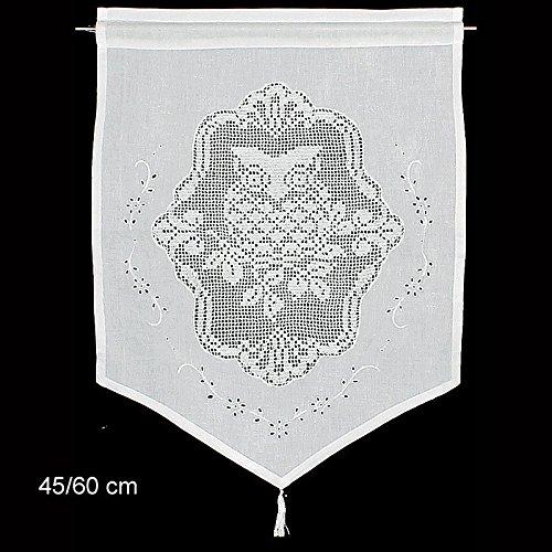 Raamdecoratie uil gordijn Hossner | 60x45 cm H/B | wit | 100% katoen