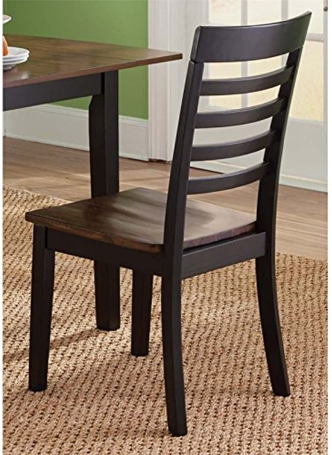 Liberty Furniture Cafe Slat Back Dining Side Chair in Black and Cherry