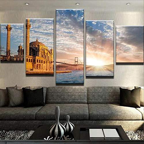 GONGXIANG Quadri Moderni Stampa di Immagini Artistica Digitalizzata Ponte Religioso del Castello Tela Decorativa per Soggiorno O Stanza da Letto 5 Pezzi 150X80Cm