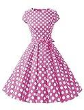 Dressystar 1956 Women Vintage Cocktail Dress 1950s Retro Rockabilly Prom Dresses Cap-Sleeve PinkWhiteDot B XL