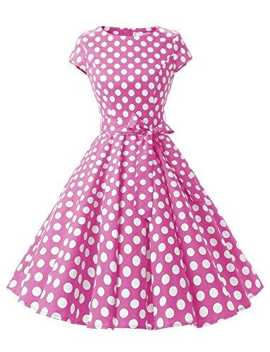 Dressystar 1956 1950s Retro Rockabilly Prom Dresses Cap-Sleeve XL Pink White Dot B