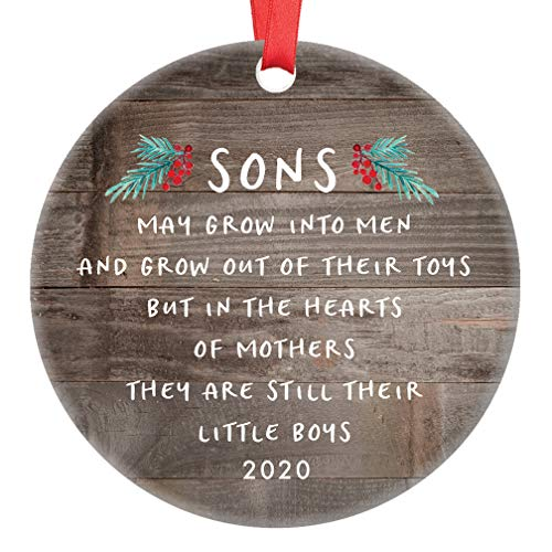 Gift for Son Christmas Ornament 2020 Sons In The Hearts of Mothers Poem Present Idea, Mom from Young or Grown Child Xmas Ceramic Farmhouse Keepsake 3