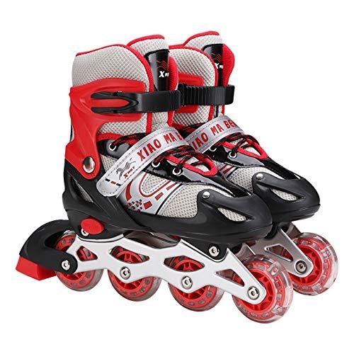 XXYsm Inline-Skates Rollschuhe für Kinder mit Einstellbarer Größe Rädern Dreifacher Schutz Leichte Rollschuhe für Anfänger für Mädchen/Jungen