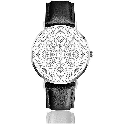 Mandala para Colorear Esquema Relojes de Cuero Relojes de Pulsera de Moda Casual