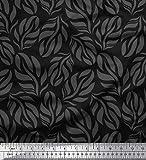 Soimoi Negro seda artificial Tela Hojas tela de camisa tela estampada de 1 metro...