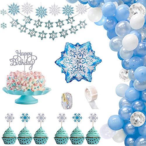 HIQE-FL Happy Birthday Banner Blue,Fiocco di Neve Decorazione Torte,Palloncini Ghirlanda Kit Compleanno,Decorazione di Compleanno Frozen,Palloncini in Lattice,Toppers per Torta