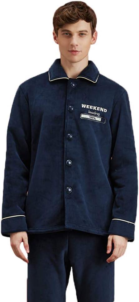 Men Winter Coral Fleece Pajama Set,Thicken Warm Long Sleeve Trousers Two-Piece Cardigan Lapel Comfy Casual Loungewear Sleepwear Suit,Dark Blue,M