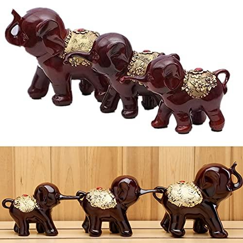 3 figuras de familia de elefantes, decoración dulce y pequeño elefante, de resina, para decoración de bricolaje, regalos para el Día de la Madre o el Día del Padre (marrón)