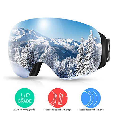SKL Skibrille Snowboard Brille Schneebrille Magnet Doppelschichten Linse Große Sphärische Design Helm Kompatibel Anti-Fog UV-Schutz Anti-Rutsch-Gurt für Damen Herren Jugend