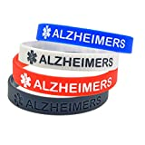 BAIYI Alzheimers Alert Bracelet Silicone Medical ID Wristband for Seniors 4Pack