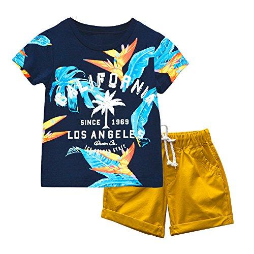 KISBINI Boys California Summer Clothes Set T Shirt and Short 4T, Dark Blue,Yellow
