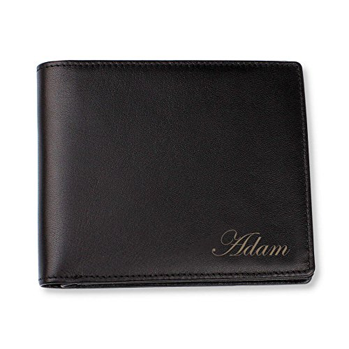 Personalized Black Leather Bi-fold Wallet Engraved Free - Ships from...