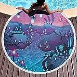 Toalla de playa Seta Toalla de playa ligera Estilo de dibujos animados Paisaje nocturno de fantasía con el río Setas y árboles Toallas de secado rápido, ligeras y de secado rápido, sin arena (diámetro