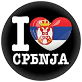 FanShirts4u Button/Badge/Pin - I Love SERBIEN Fahne Flagge SRBIJA (I Love Serbien/serbisch)