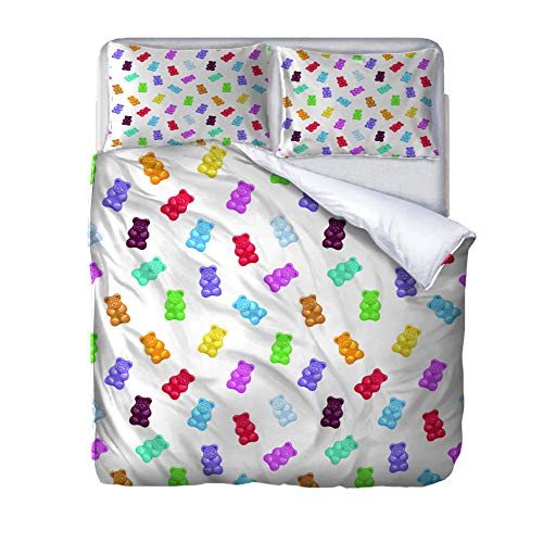 zzqxx Home Superking Duvet Cover Set Colorful teddy bear candy Bed Set Quilt Cover with Zipper Soft 100% Polyester Includes 2 Pillow Cases 3D Printed Bedding for Boys Girls Adults 260x220cm