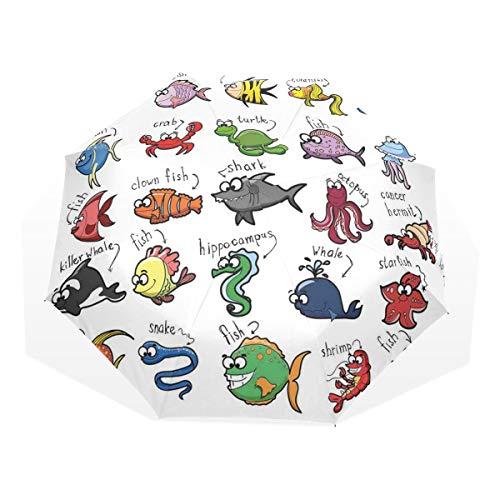 LASINSU Regenschirm,Aquarium Cartoon Octopus Delphin Hai Wal Clown Fisch Quallen Einsiedlerkrebs Marine,Faltbar Kompakt Sonnenschirm UV Schutz Winddicht Regenschirm