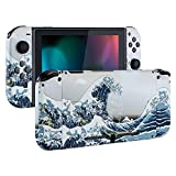 eXtremeRate Soft Touch Grip Back Plate for Nintendo Switch Console, NS Joycon Handheld Controller Housingwith Full Set Buttons, DIY Replacement Shell for Nintendo Switch - The Great Wave
