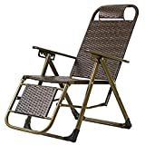 ZHAOYONGLI-Sillas,Tumbonas,Sillones Zero Gravity Lounge Chairs Sillas Reclinables Ajustables Exterior Yard Beach (Color : Three Fold Wicker Chair)