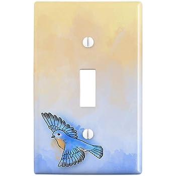 Amazon Com Graphics More Blue Jay Watercolor Northeastern Bird Plastic Wall Decor Toggle Light Switch Plate Cover Furniture Decor