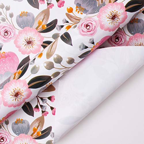 Jewel Miner Gift Wrapping Paper Roll - Beautiful Floral Design for Birthday, Mother Day, Wedding, Wrap - 1 Rolls - 30 inch X 120 inch Per Roll