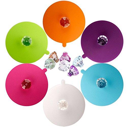 Lebensmittel-Grad-Silikon-Schalen-Deckel, IPHOX kreative Diamant-Becher-Abdeckung [Satz von 6] Anti-Staub, luftdichte Dichtung, Silikon-Getr?nk-Schalen-Deckel, hei?e Schalen-Deckel, Diamant