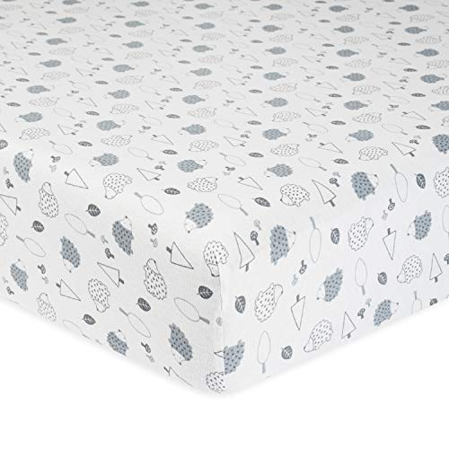 Gerber Baby Boys and Girls Newborn Infant Baby Toddler Nursery Organic Cotton Fitted Bedding Crib Sheet, Grey Hedgehog, One Size