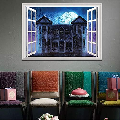 FHISDGN 3D maand onder het spookhuis nep raam landschap TV bank achtergrond decoratie, grootte: 50 * 70CM