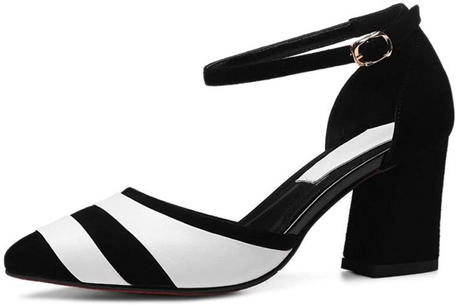 L@YC Women's High Heels Summer and Autumn PU Sandals Word Buckle with a Pointed Dance Wedding shoes