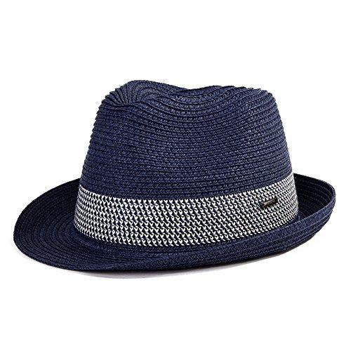 Comhats Packbare und verstellbare Panama Sommer Fedora Trilby Stroh Sonnenhüte für Unisex-Erwachsene Groß Blau