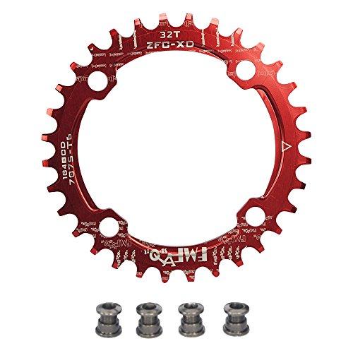 UPANBIKE Bike Schmal Breit Kettenblatt 104 BCD Runde Form Single Kettenblätter 38T(Rot)