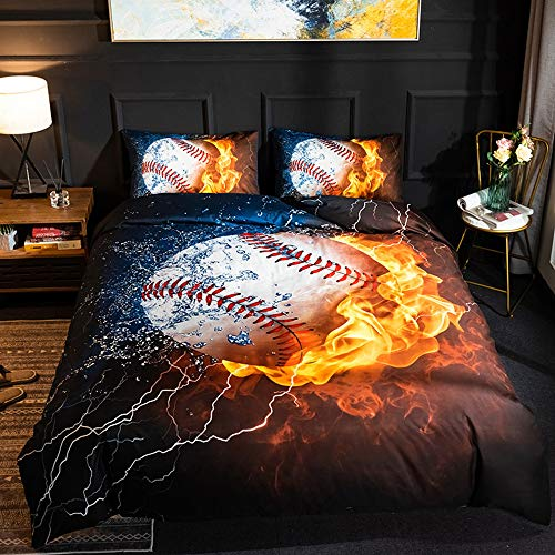 Aceshop Duvet Cover Set Double Size Baseball Pattern 3 pcs Microfiber Quiltset with Zipper Closure Bedding Duvet Cover and 2 Pillowcases (50x75cm) Easy Care Soft for Adult Teenagers (200 x 200cm Blue)