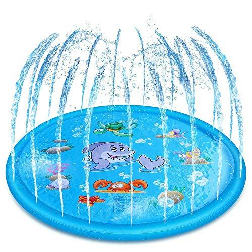 Espolvorear y salpicar alfombra de juego para niños pequeños, 172 cm inflable para fiestas al aire libre para niños, juguete de agua para verano al aire libre, jardín, playa