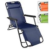 Liegestuhl Campingstuhl mit Liegefunktion Sonnenliege mit Kopfpolster Strandliege klappbar für