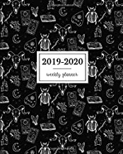 2019-2020 Weekly Planner: Witchcraft Crystals Ouija Tarot Game Cards Grimoire Moon Mystical Doodles Black Pattern, Weekly and Monthly Standard Professional Calendar | 1 July 2019 - 31 December 2020