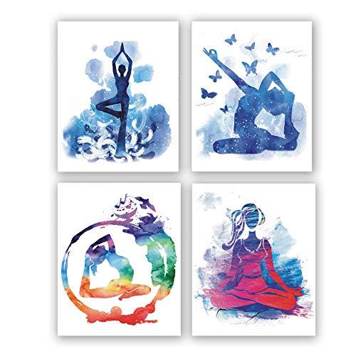 4 set- Dancing girl modern abstract art painting, elegant dancer mural, dance wall decoration paintings(Unframed, 8'X10')
