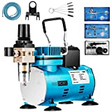 VIVOHOME 110-120V Professional Airbrushing Paint System with 1/5 HP Air Compressor and 3 Airbrush Kits for Tattoo Makeup Shoes Cake Decoration Blue