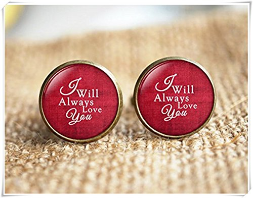 I will always Love You Boutons de manchette, cadeau de mariage, des boutons de manchettes personnalisés