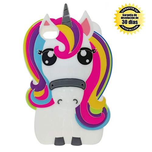 YINGE Funda iPhone 4 4S, Silicona 3D Flexible Cartoon Unicornio Animales Antigolpes Anti-Rasguño Anti-Arañazos Caso Grande Protectora Carcasa para Niños Niñas Mujer (Multicolor)