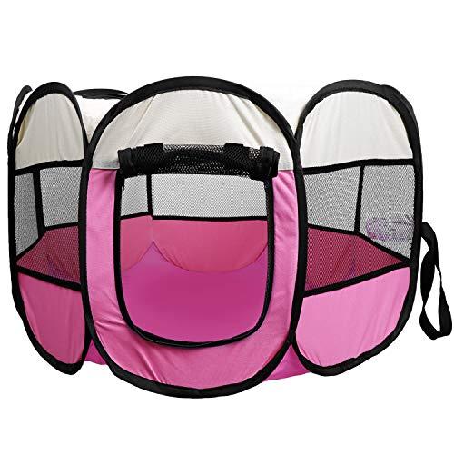 Coolty Faltbar Haustier Zelt, 8-Panel Haustier Tierlaufstall, Tragbar Haustier Haus für Hunde Katzen Kaninchen Kleintiere, 73 * 73 * 43cm (Rose)
